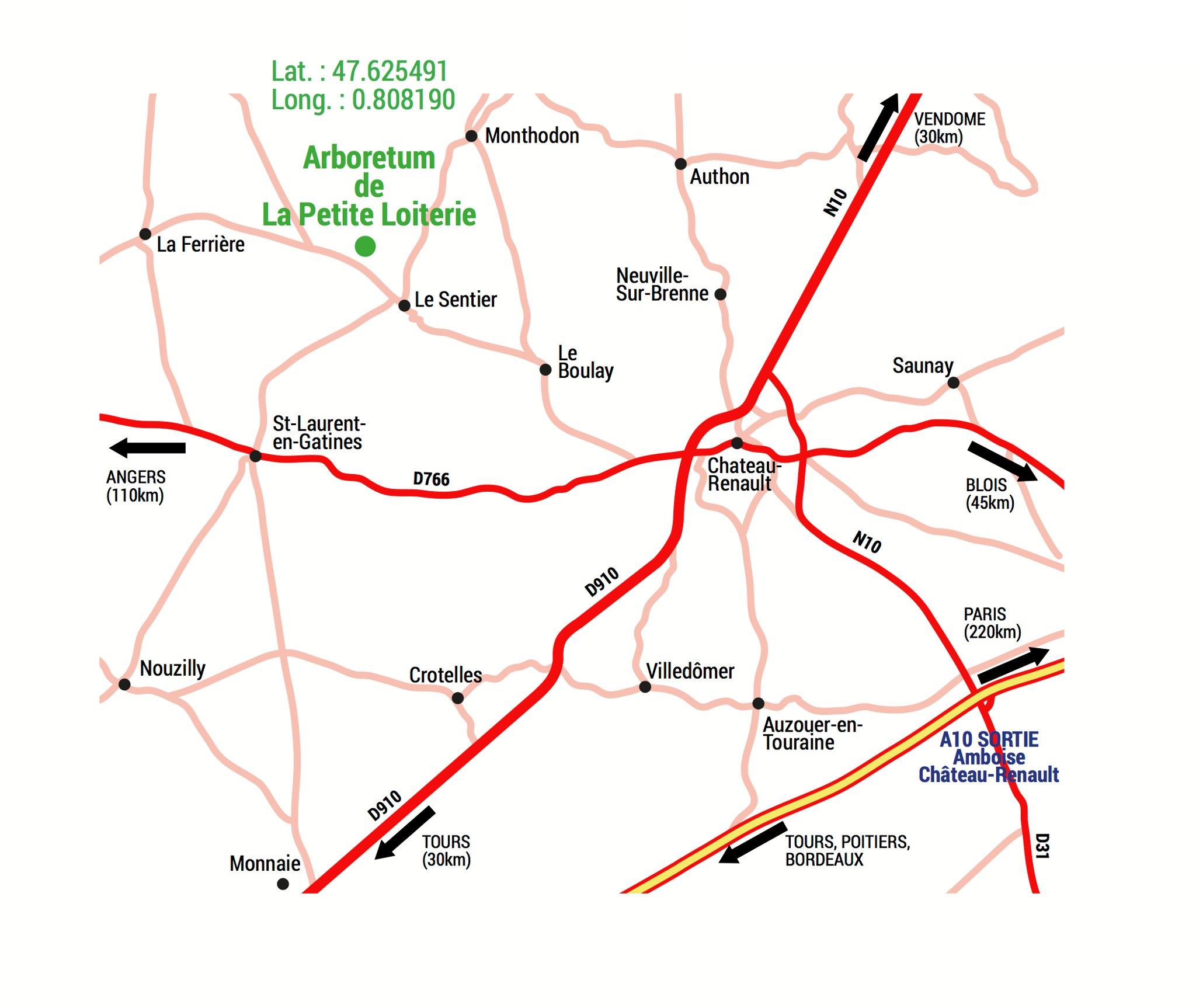 Carte de situation - latitude : 47.625491 ; longitude : 0.808190